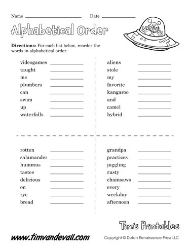 Alphabetizing Worksheets for Grade 1 Alphabetical order Worksheet 01 Tim S Printables