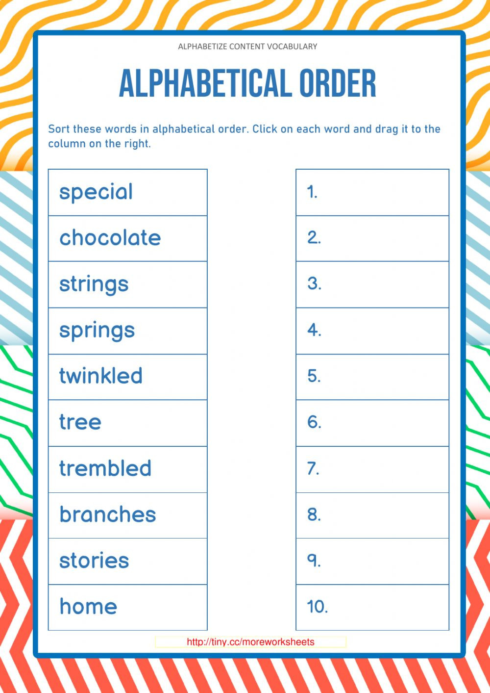 Alphabetizing Worksheets for Grade 1 Alphabetize Content Vocabulary 1 Worksheet