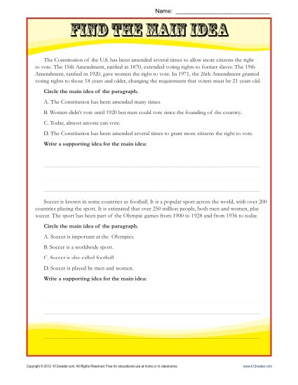 Amendments Worksheet High School Middle School Main Idea Reading Passage Worksheet