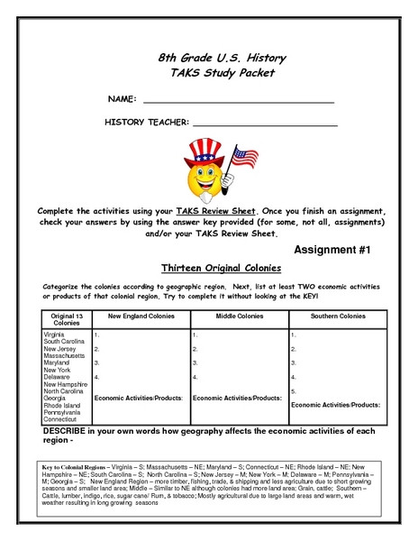 American History Worksheets 8th Grade 8th Grade U S History Task Study Packet Worksheet for 8th