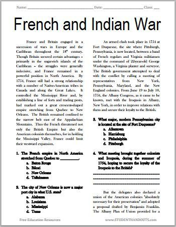 American History Worksheets 8th Grade the French and Indian War Free Printable American History