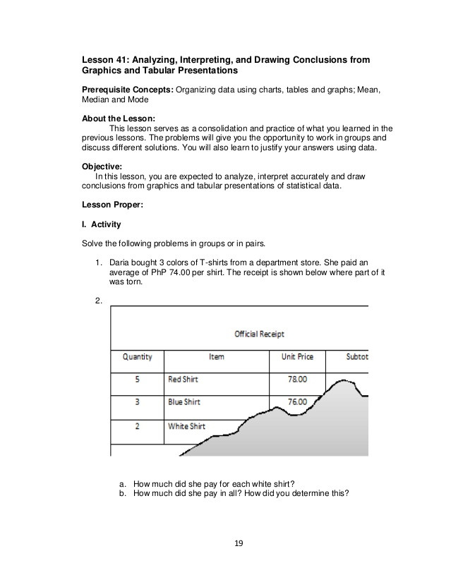 Analyzing Data Worksheet High School Mathematics 7