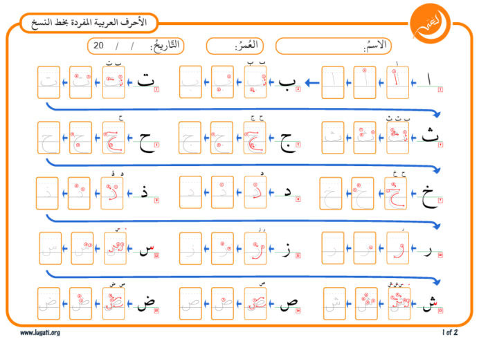 Arabic Letters Worksheet Printable Exercise for Writing Arabic Alphabet In Naskh Typescript