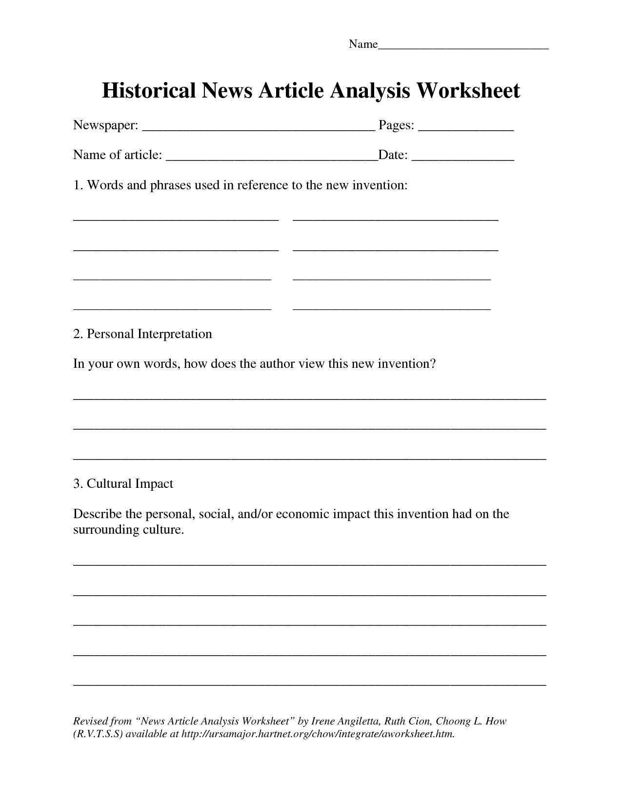 Article Analysis Worksheet High School Current event Worksheet