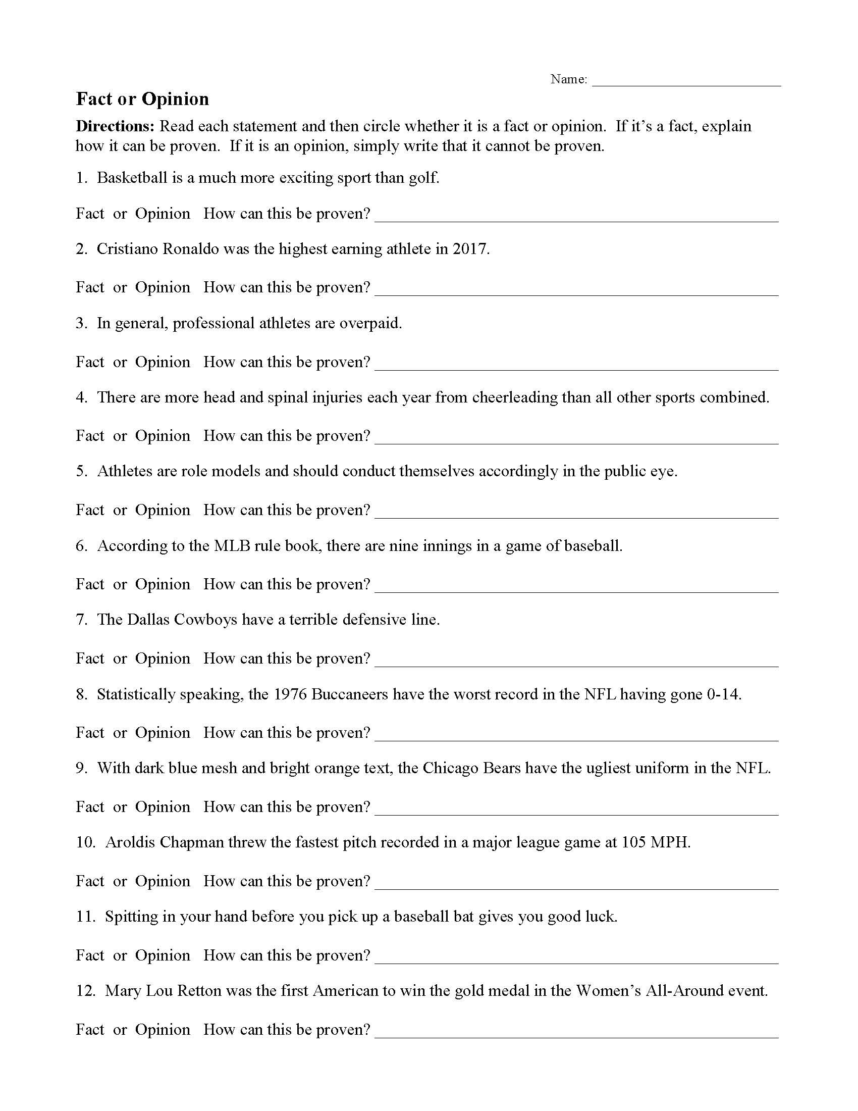 Article Analysis Worksheet High School Fact and Opinion Worksheets