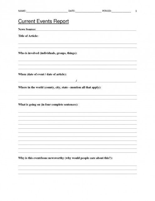 Article Analysis Worksheet High School Free Current events Report Worksheet for Classroom Teachers