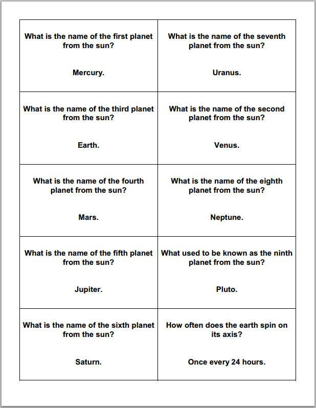 Astronomy Worksheets High School astronomy and the Planets Trivia Cards
