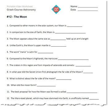 Astronomy Worksheets High School Crash Course astronomy 7 12