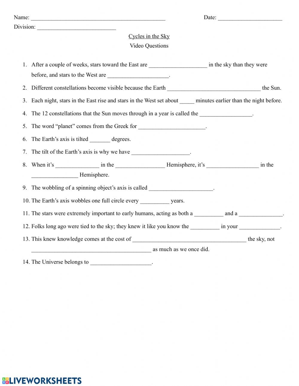 Astronomy Worksheets High School Pdf Crash Course astronomy Cycles In the Sky Worksheet
