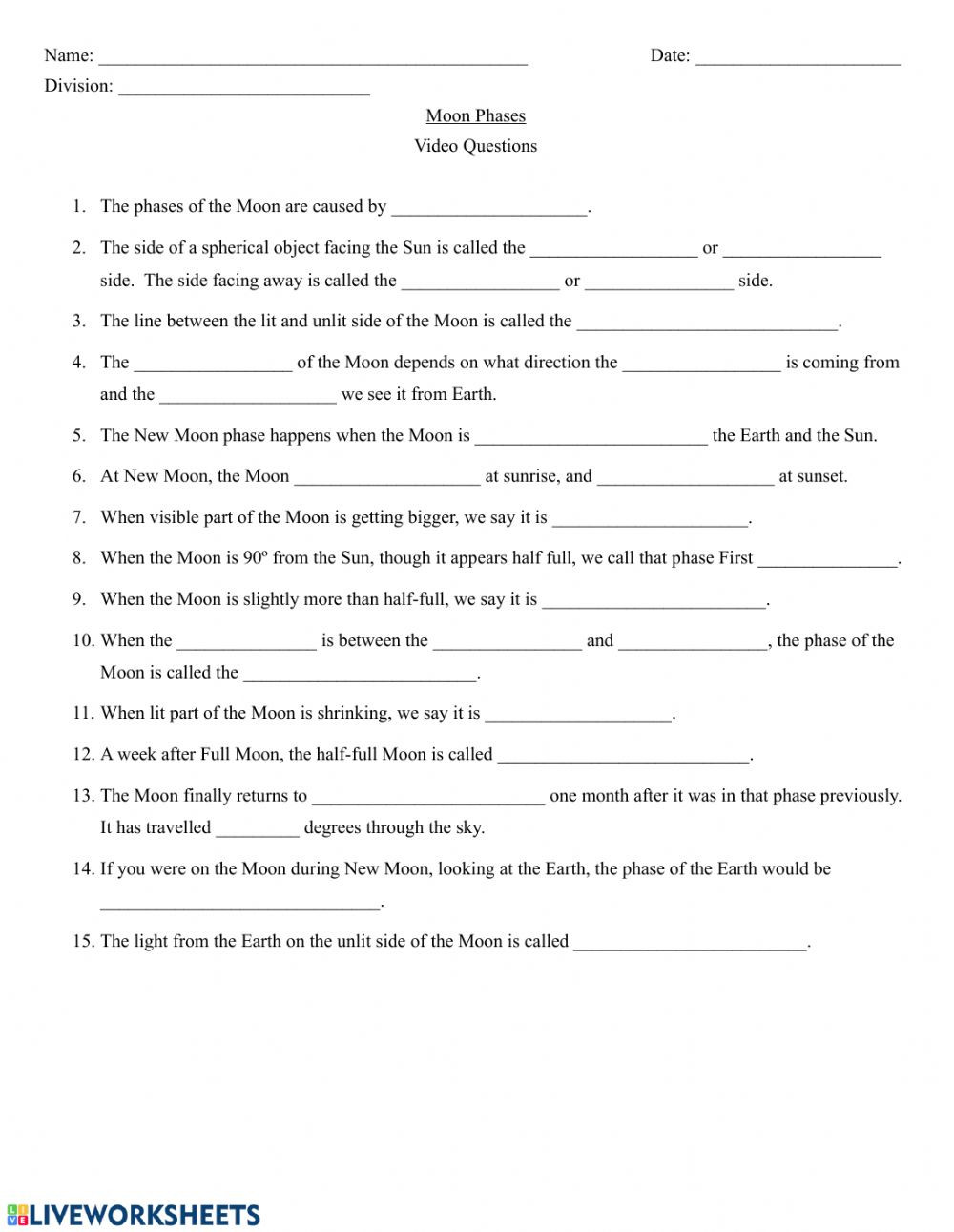 Astronomy Worksheets High School Pdf Crash Course astronomy Moon Phases Worksheet