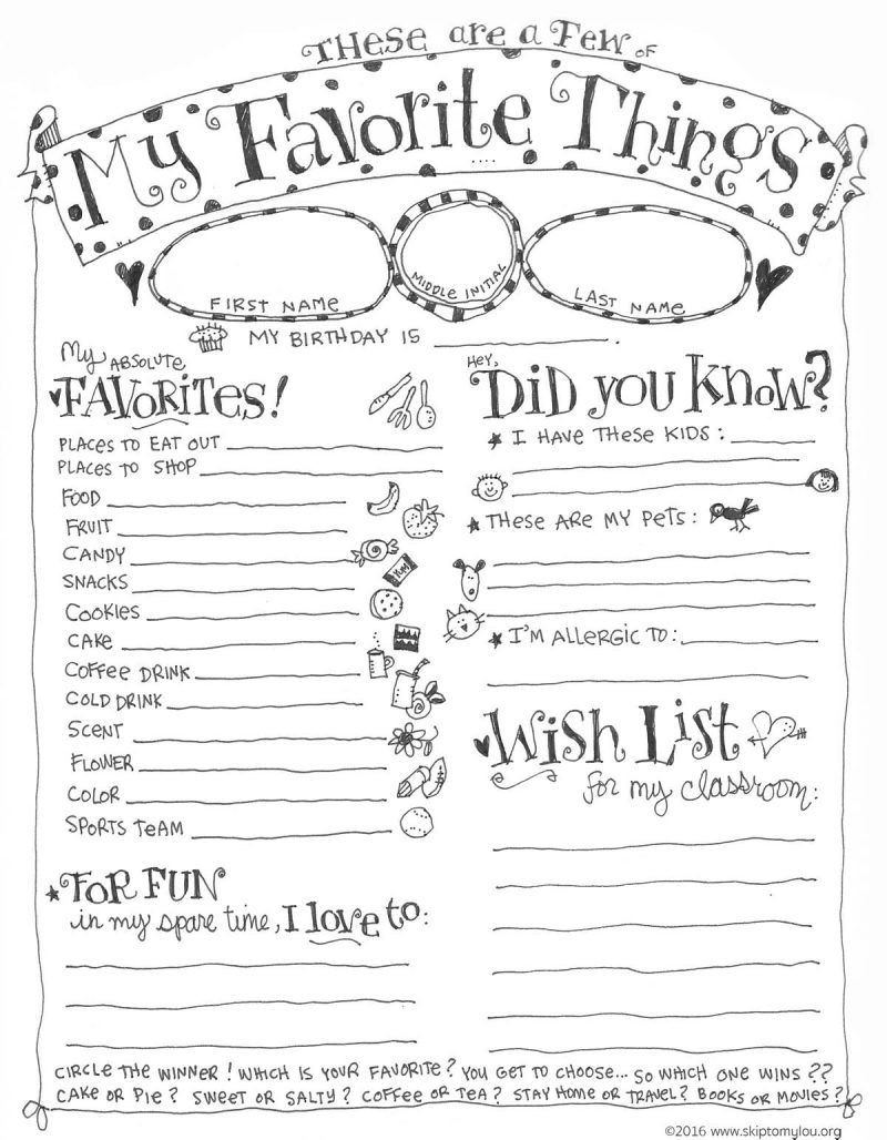 Astronomy Worksheets High School Teacher Favorite Things Questionnaire Printable Back to