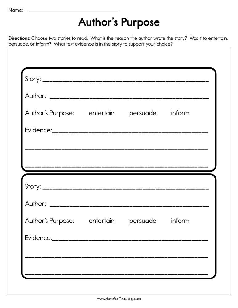 Author Purpose Worksheets 5th Grade Author S Purpose Worksheet