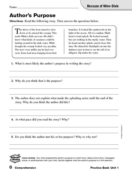 Author Purpose Worksheets 5th Grade because Of Winn Dixie Author S Purpose Worksheet for 5th