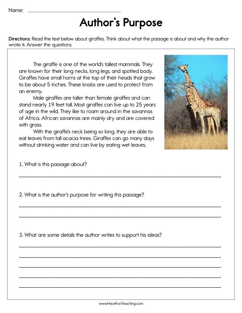 Author Purpose Worksheets 5th Grade Identifying Author S Purpose Worksheet