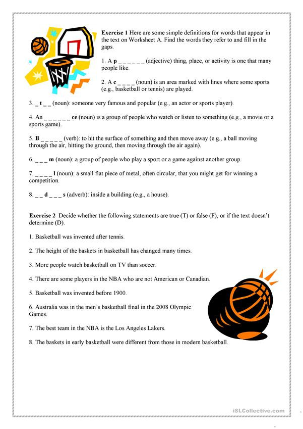 Basketball Worksheets for High School Basketball English Esl Worksheets for Distance Learning