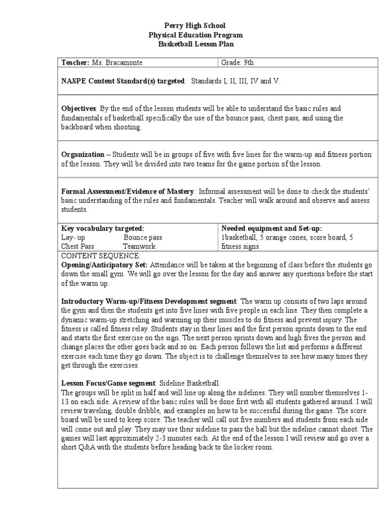 Basketball Worksheets for High School Basketball Lesson Plan Physical Fitness