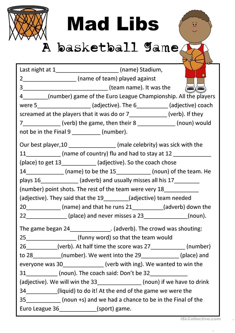 Basketball Worksheets for High School Mad Libs Basketball Game English Esl Worksheets for