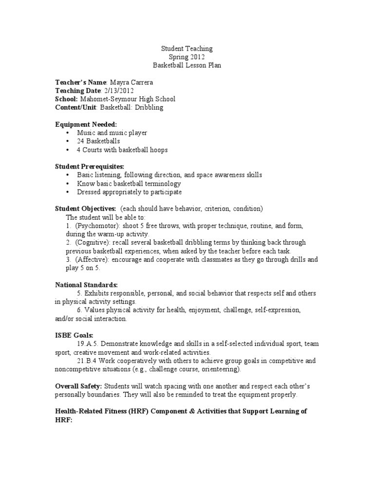 Basketball Worksheets for High School Week 2 Basketball Lesson Plans Lesson Plan