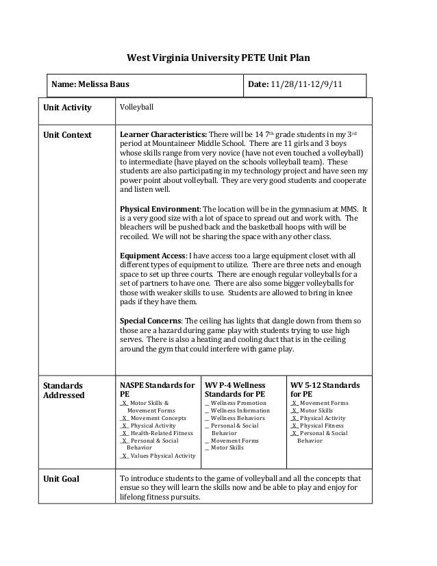 Basketball Worksheets for High School West Virginia University Pete Unit Plan Unit Activity