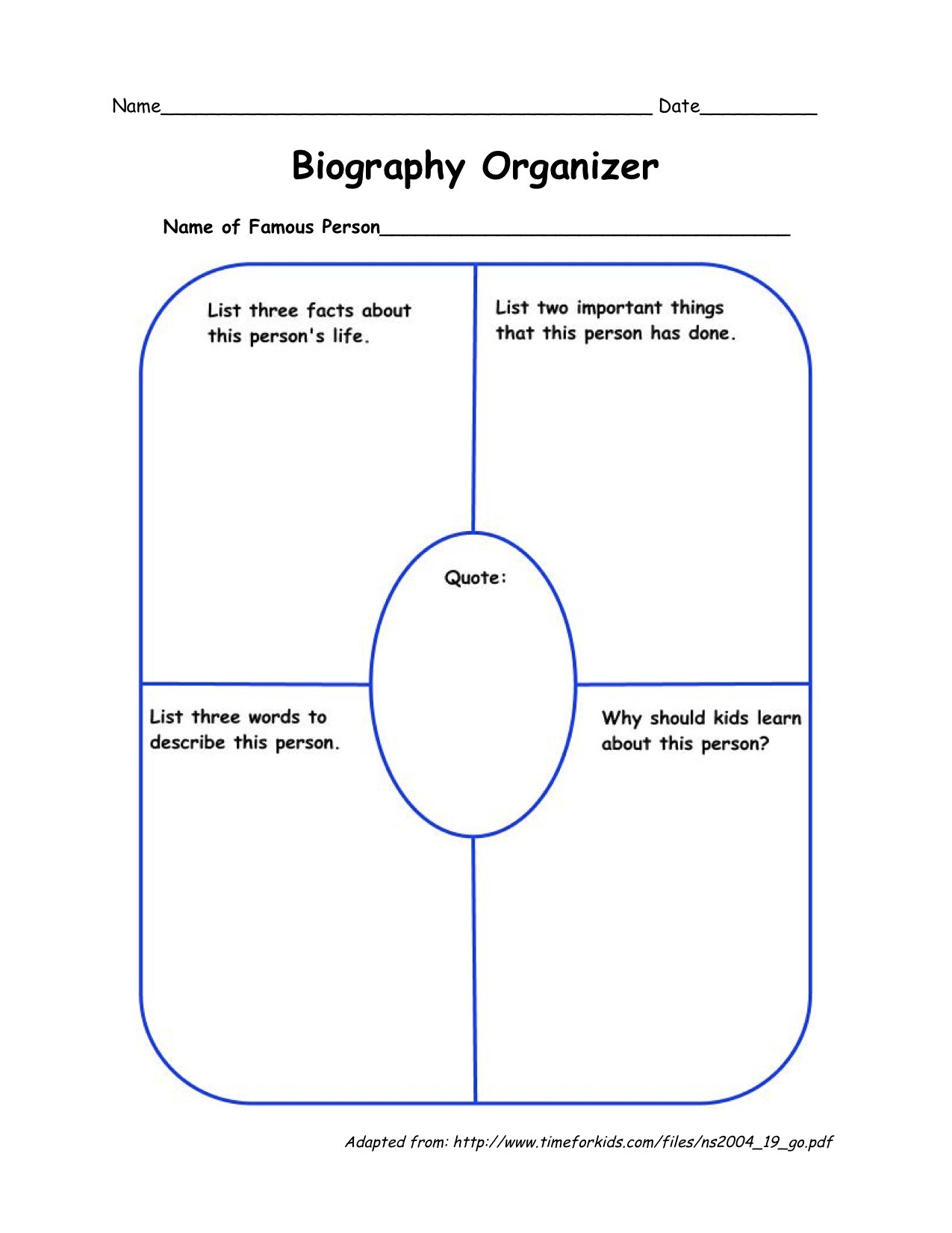 Biography Worksheet 3rd Grade Biography Graphic organizer Printable that are Superb