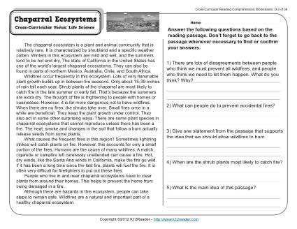 Biomes Worksheet 5th Grade Chaparral Ecosystems