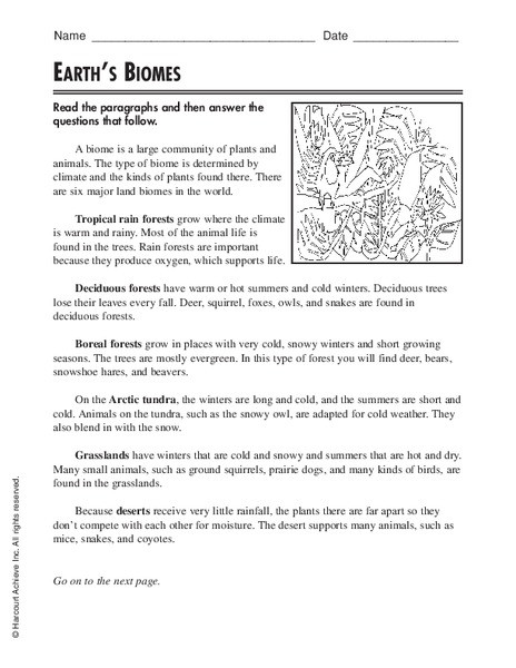Biomes Worksheet 5th Grade Earth S Biomes Worksheet for 3rd 5th Grade