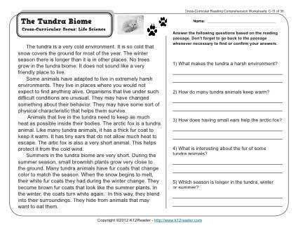 Biomes Worksheet 5th Grade the Tundra Biome
