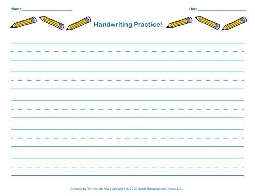 Blank Handwriting Worksheets for Kindergarten Printable Handwriting Practice Template