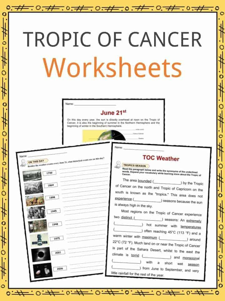 Cancer Worksheet High School Tropic Cancer northern Tropic Facts Worksheets