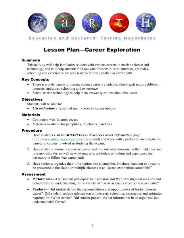 Career Worksheets for High School Career Exploration Lesson Plan for 6th 10th Grade