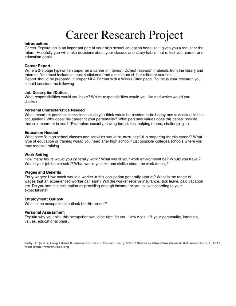 Career Worksheets for High School Career Research Project