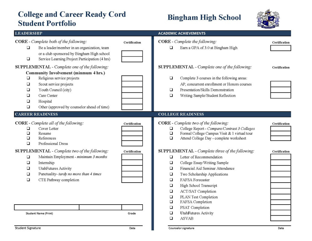 Career Worksheets for High School College & Career Readiness Cord Bingham Counseling Center