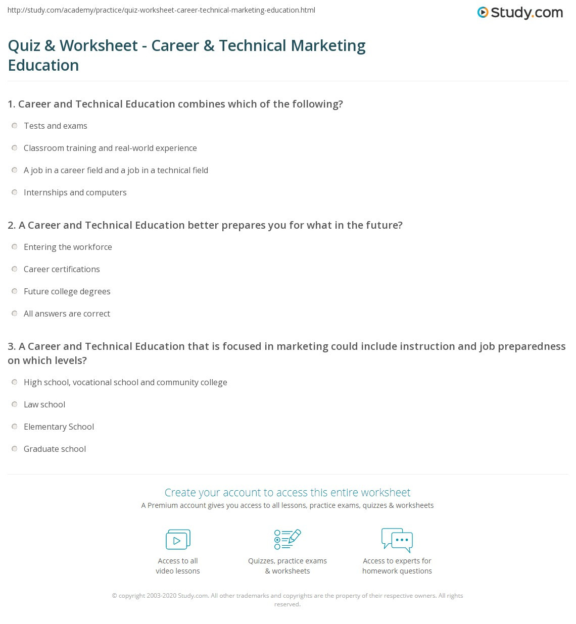 Career Worksheets for High School Quiz & Worksheet Career & Technical Marketing Education