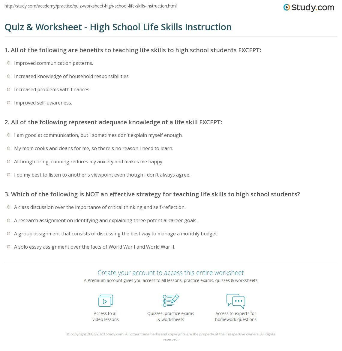 Career Worksheets for High School Quiz & Worksheet High School Life Skills Instruction
