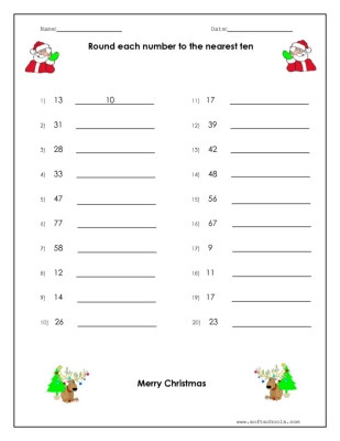 christmas round each number to the nearest ten 1