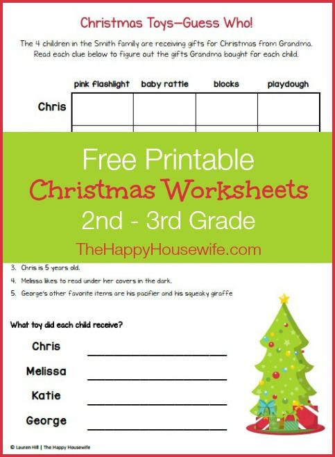 Christmas Worksheets for Third Grade Christmas themed Worksheets Free Printables the Happy