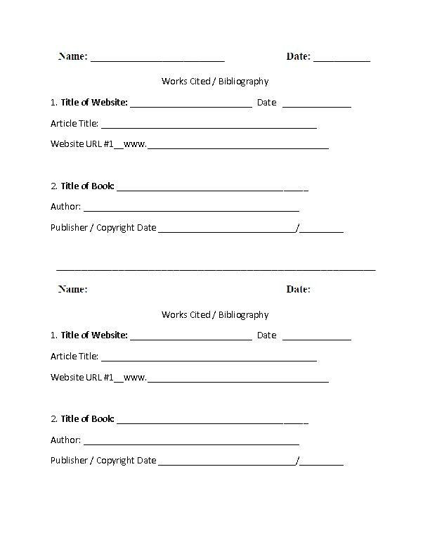 Citing sources Worksheet 5th Grade Mla Citation Practice Worksheet In 2020