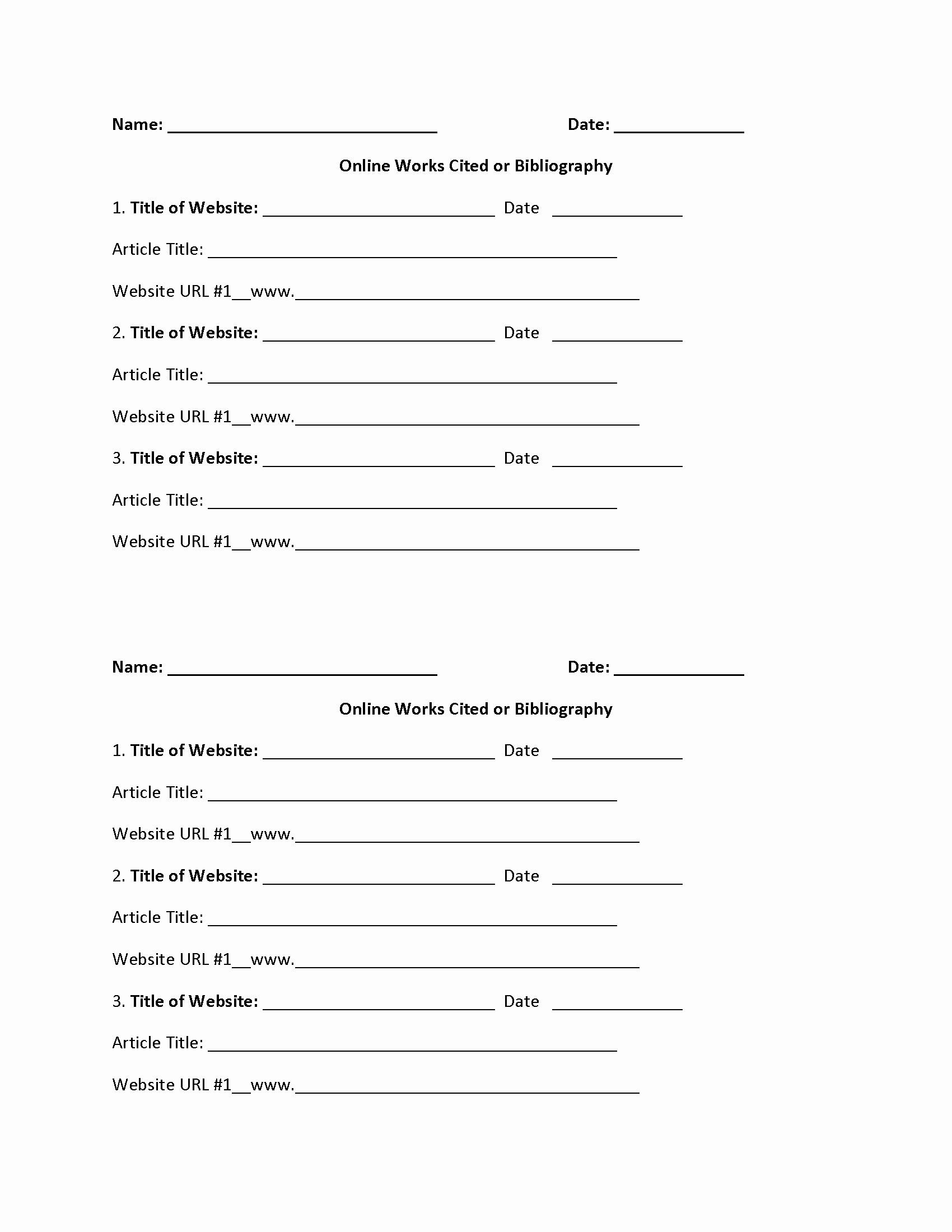 Citing sources Worksheet 5th Grade Mla Citation Practice Worksheet Inspirational Works Cited