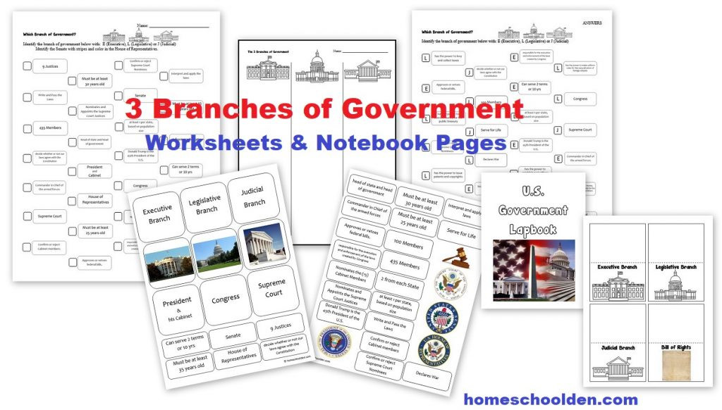 Civics Worksheets High School 3 Branches Of Government Worksheets Homeschool Den