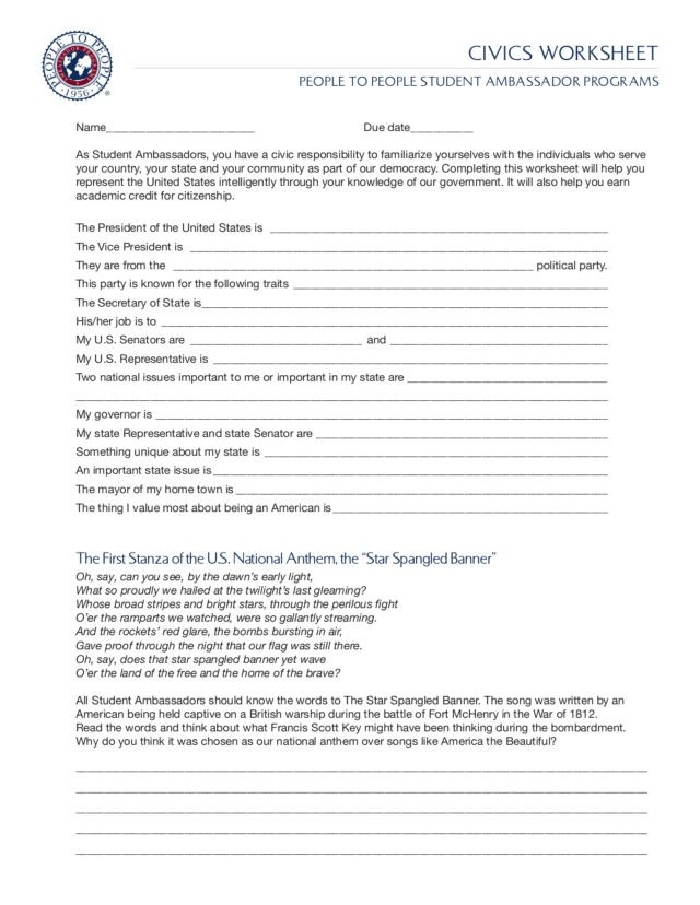 Civics Worksheets High School Service Learning toolkit for Civic Participation