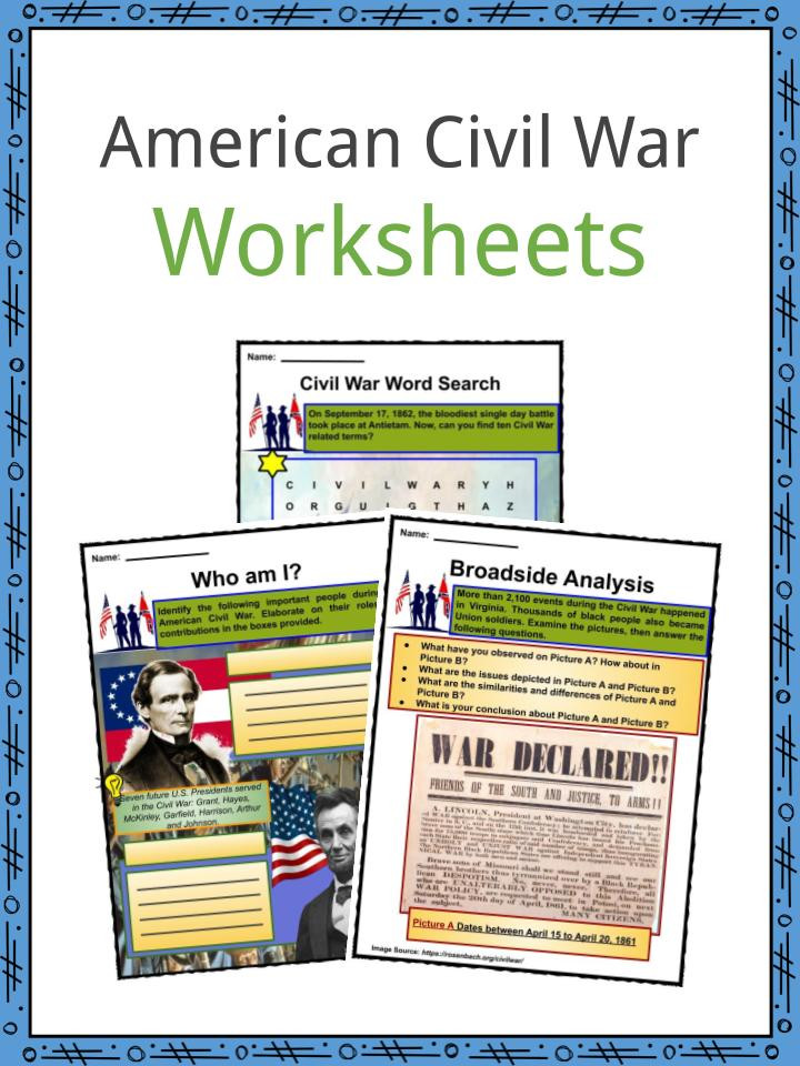 Civil War Worksheets High School American Civil War Facts Worksheets History & Impact