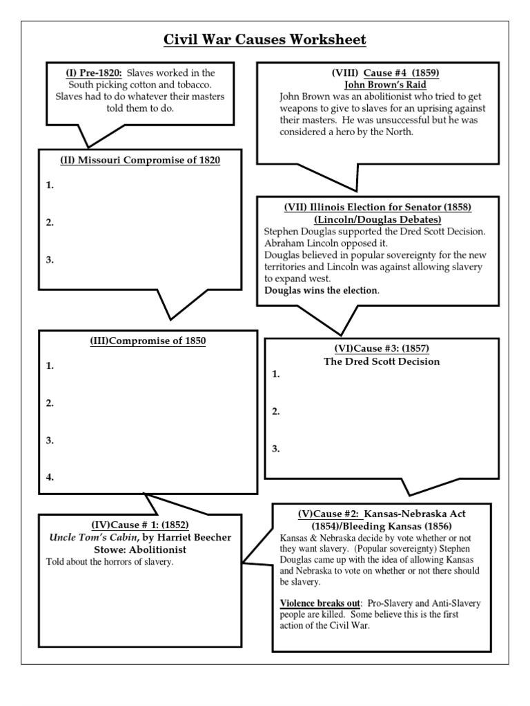 Civil War Worksheets High School Civil War Causes Worksheet Free as Pdf File Pdf