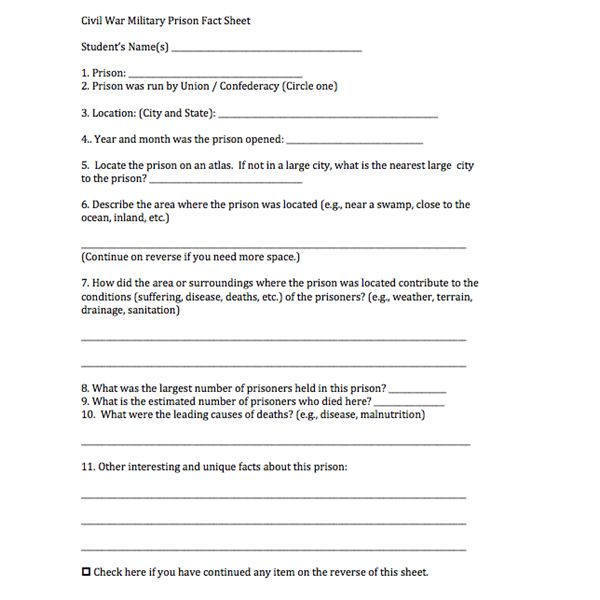 Civil War Worksheets High School History Lesson Plan for Civil War Prison Camps Brighthub
