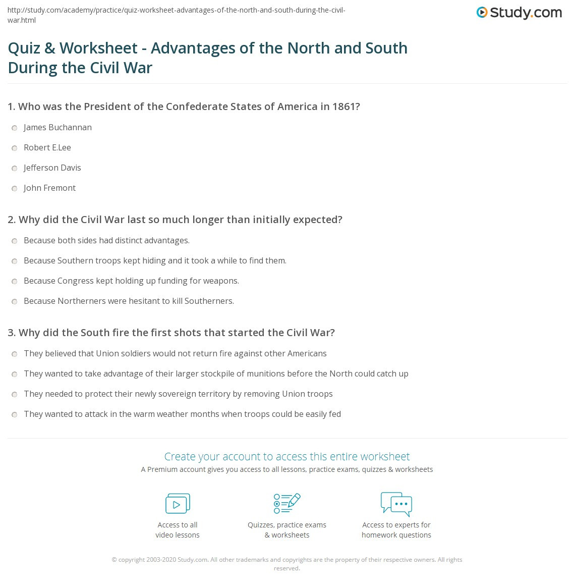 Civil War Worksheets High School Quiz & Worksheet Advantages Of the north and south During
