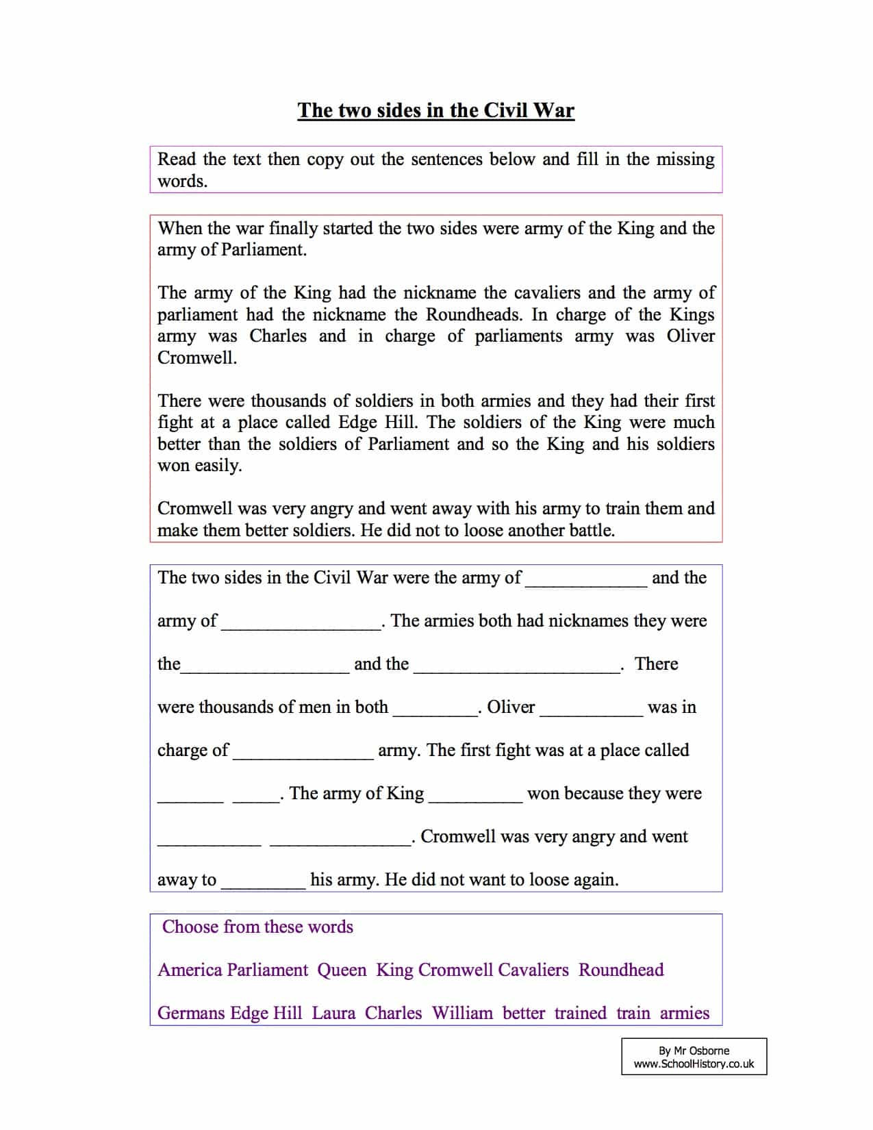 Civil War Worksheets High School the Two Sides In the English Civil War