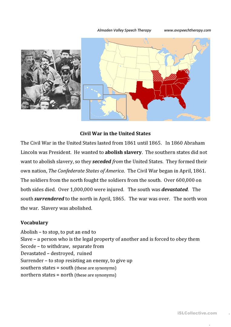 Civil War Worksheets High School U S Civil War English Esl Worksheets for Distance