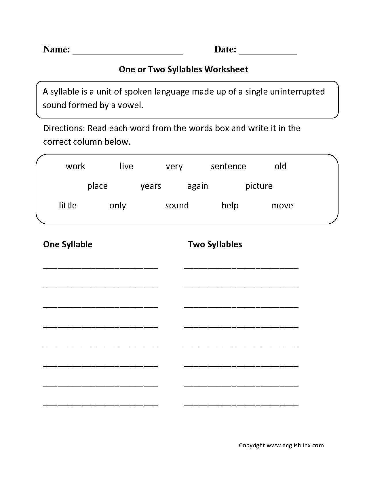 Closed Syllable Worksheets 2nd Grade Closed Syllable Worksheets First Grade Open Syllable