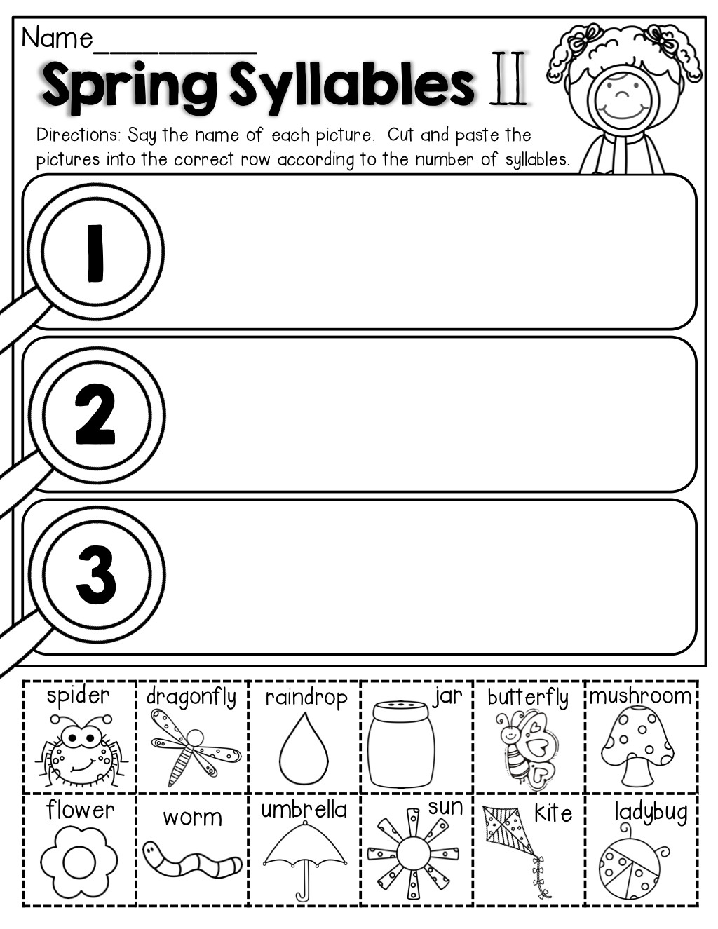 syllables cut and paste april classroom syllables kindergarten free printable syllable worksheets for kindergarten