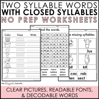 Closed Syllables Worksheets