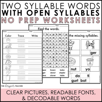 Search open syllable worksheets